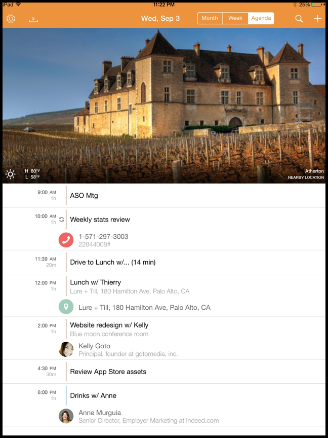 Tempo 1.5 for iOS (Agenda view, iPad screenshot 004)