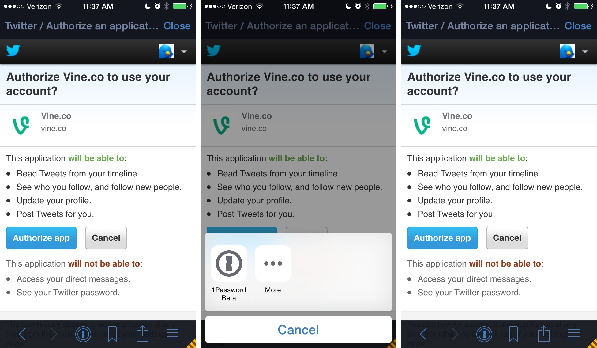 Twitterrific 5.7.6 for iOS (1Password integration 003)