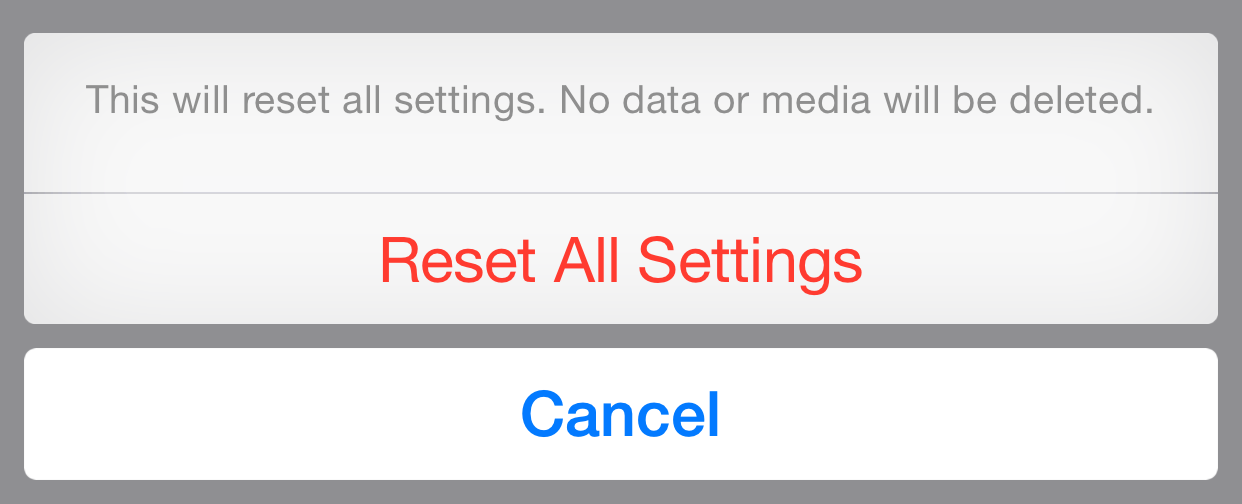 delete all settings