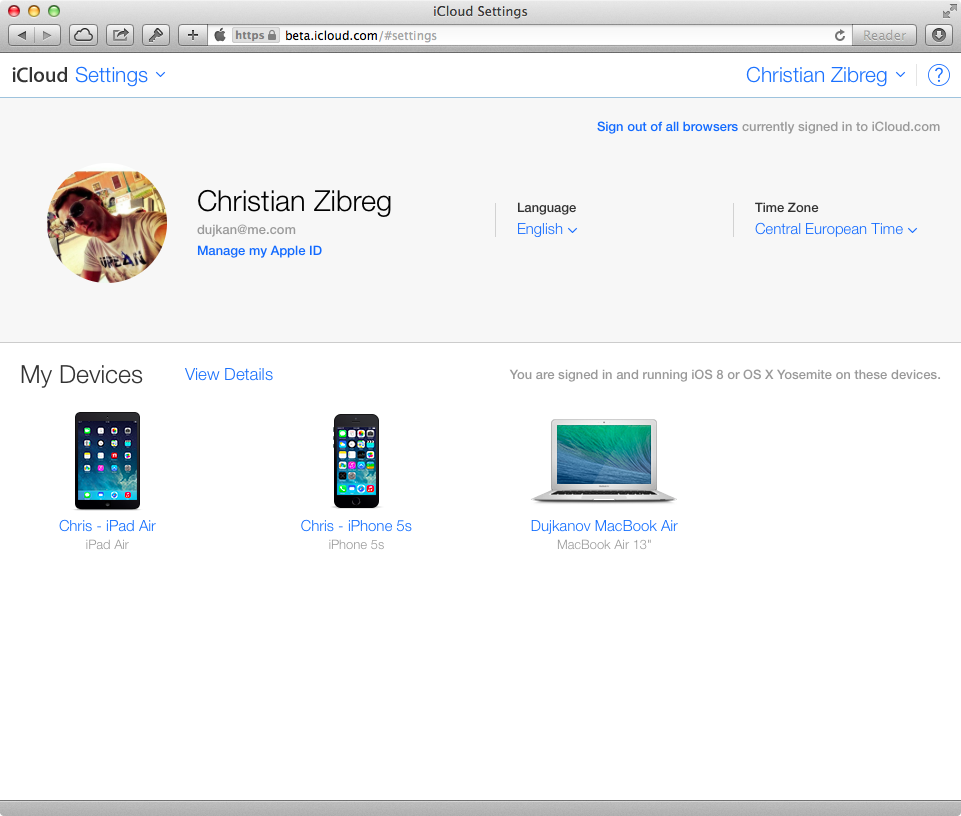 iCloud Beta (Settings, web screenshot 001)