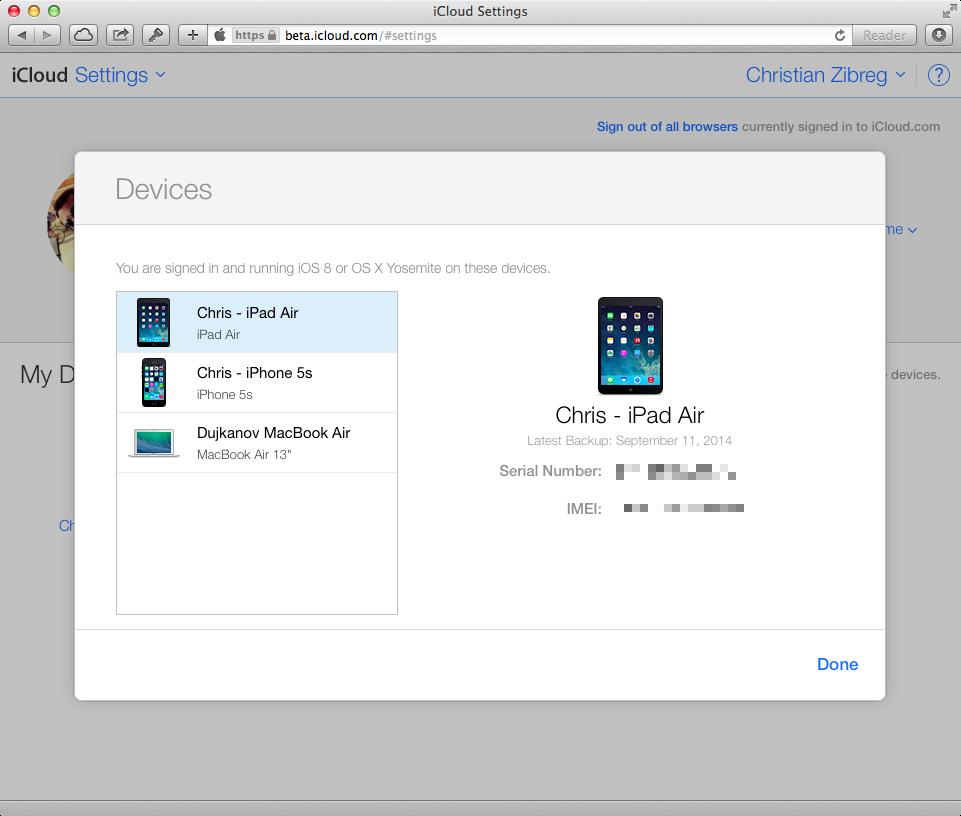 iCloud Beta (Settings, web screenshot 002)