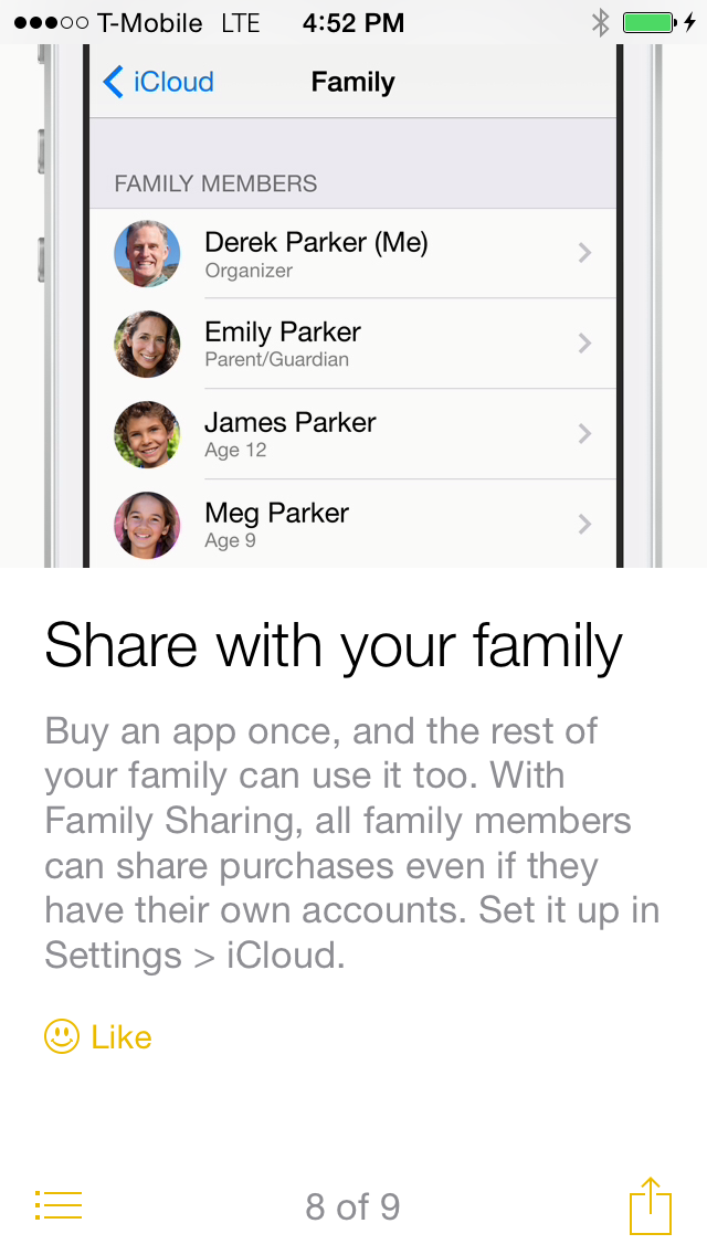 iOS 8 Tips share with family