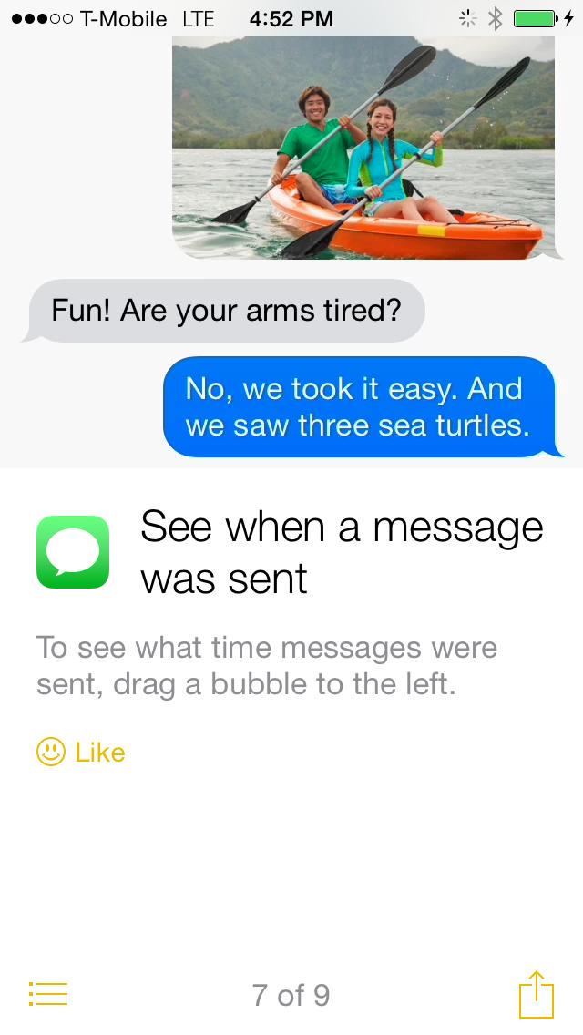 iOS * Consejos ver cuando se envió el mensaje