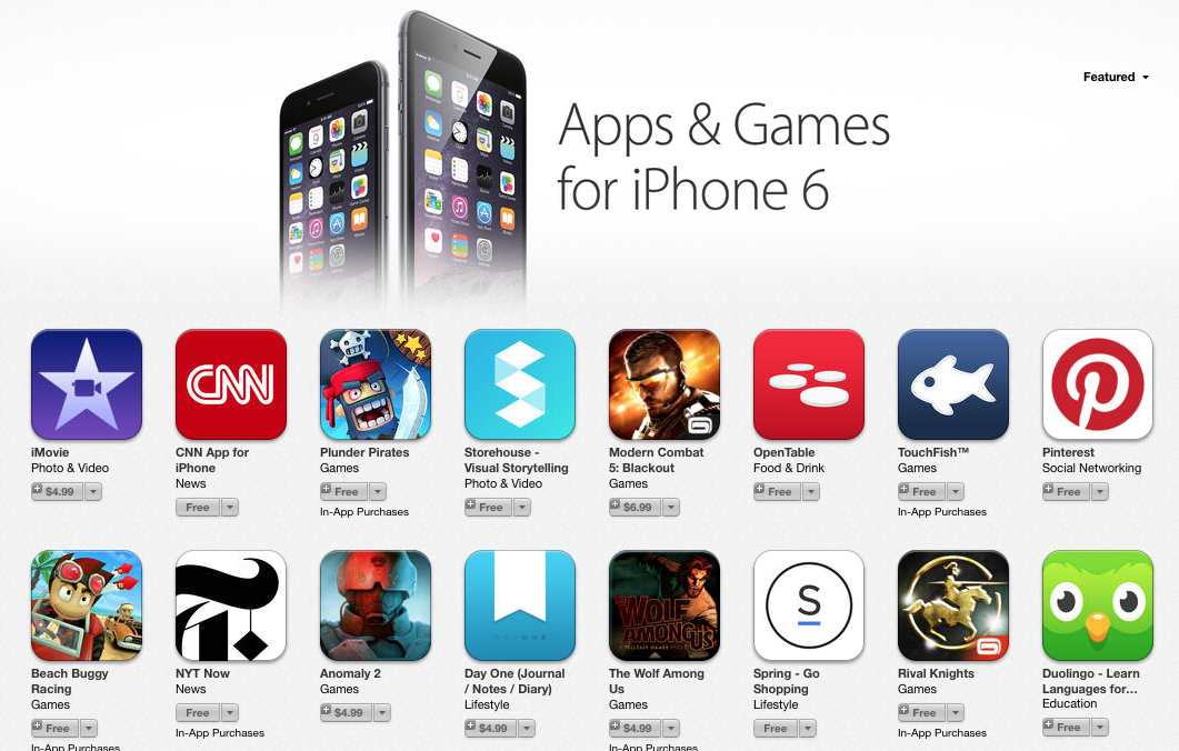 New App Store section highlights apps updated for iPhone 6