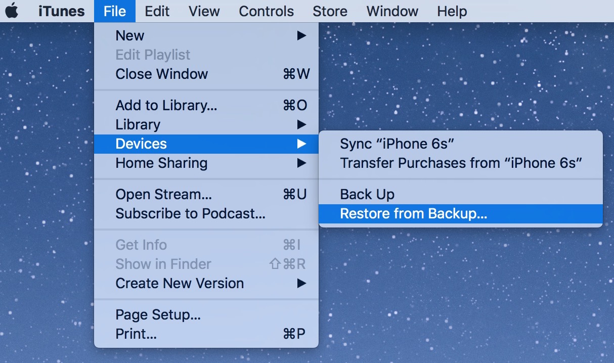 restore ios device from backup in itunes