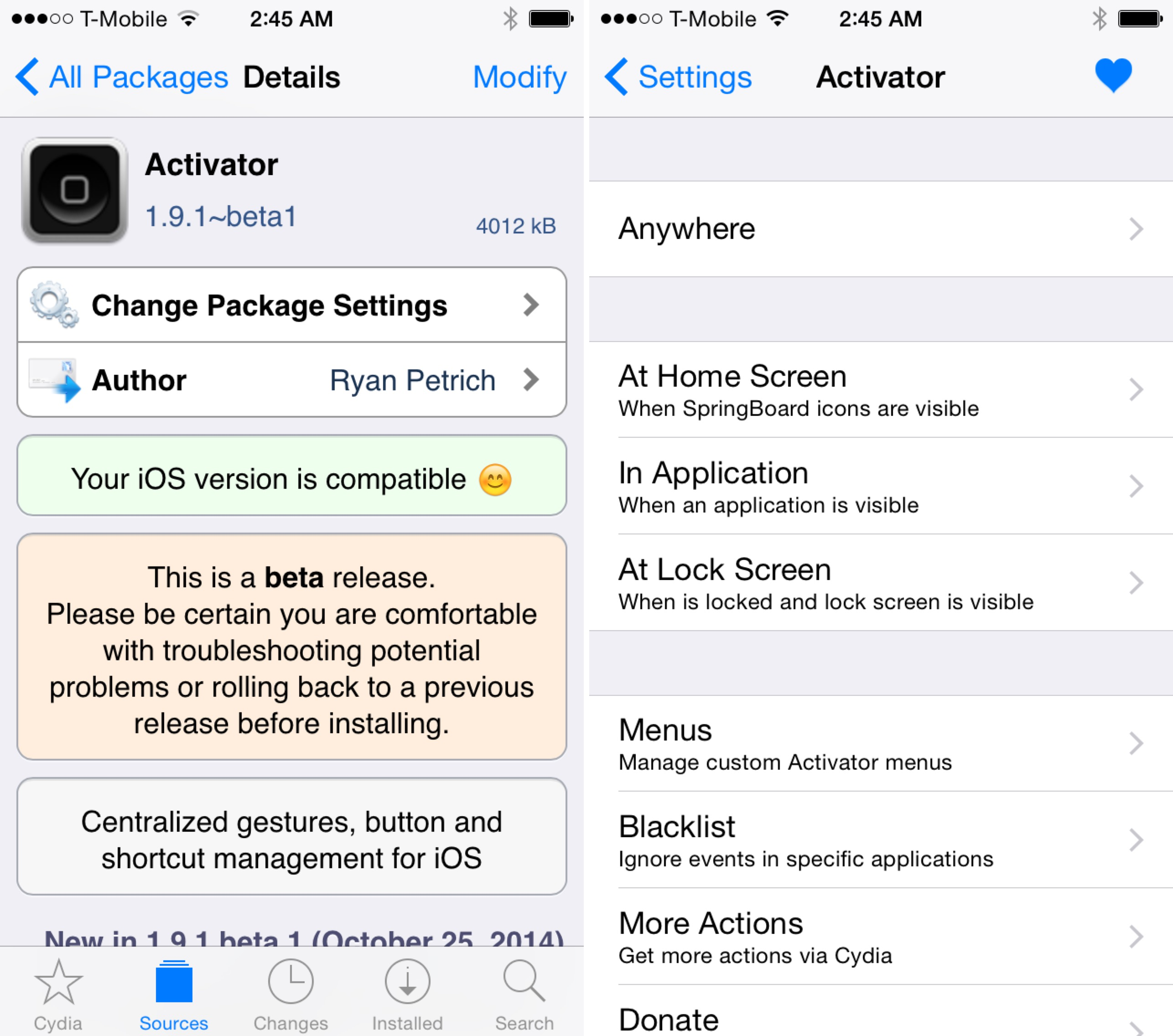 Activator iOS 8 beta screenshot