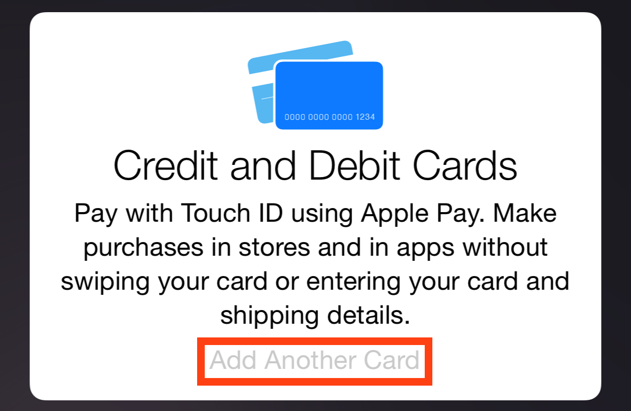 Apple Pay Add Another Card Greyed Out