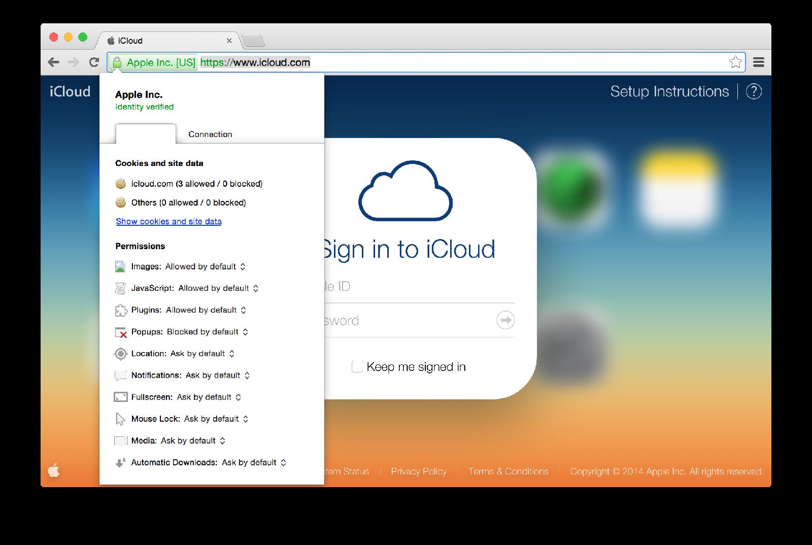 Chrome (iCloud login page verified)