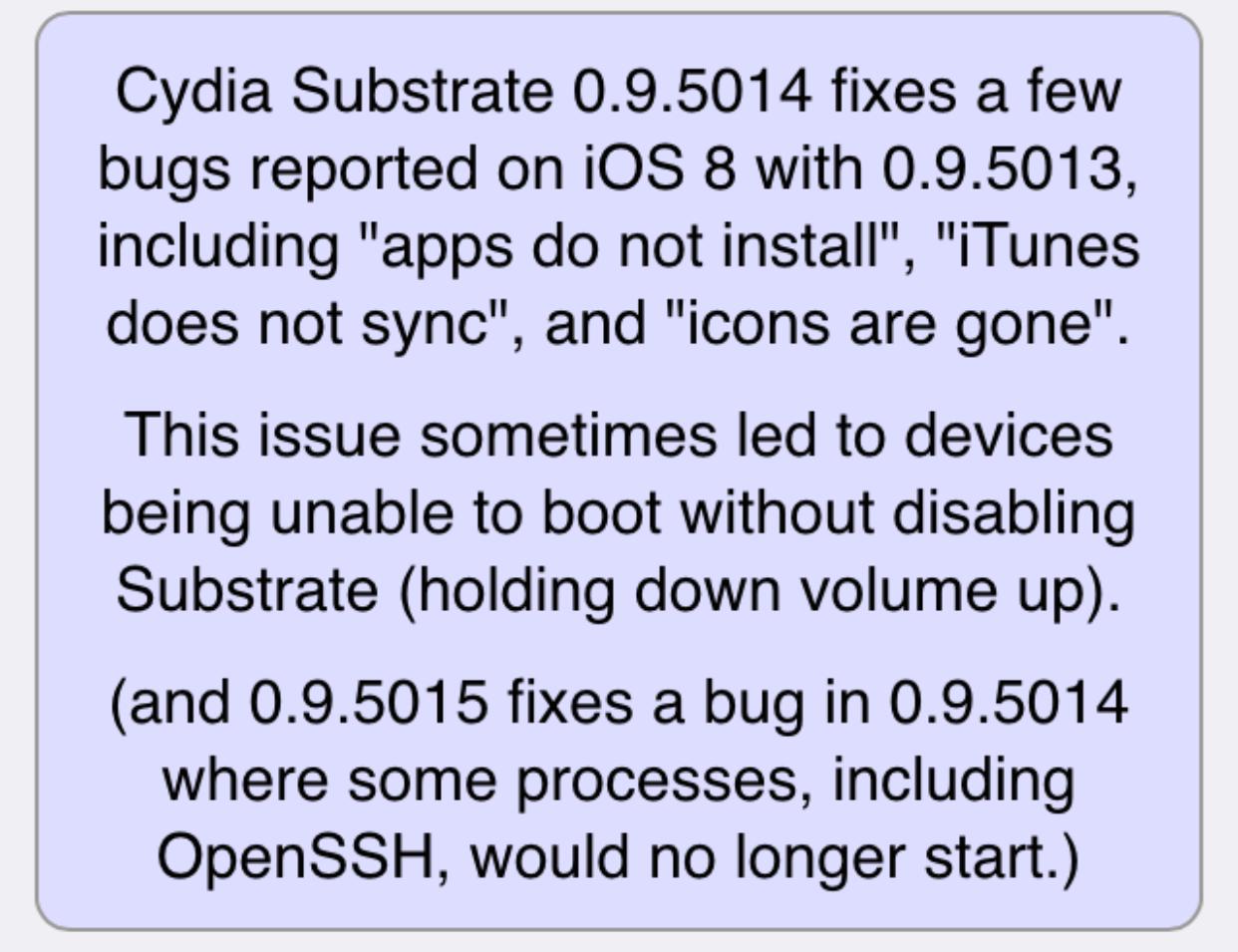 Cydia 0.9.5014 changelog