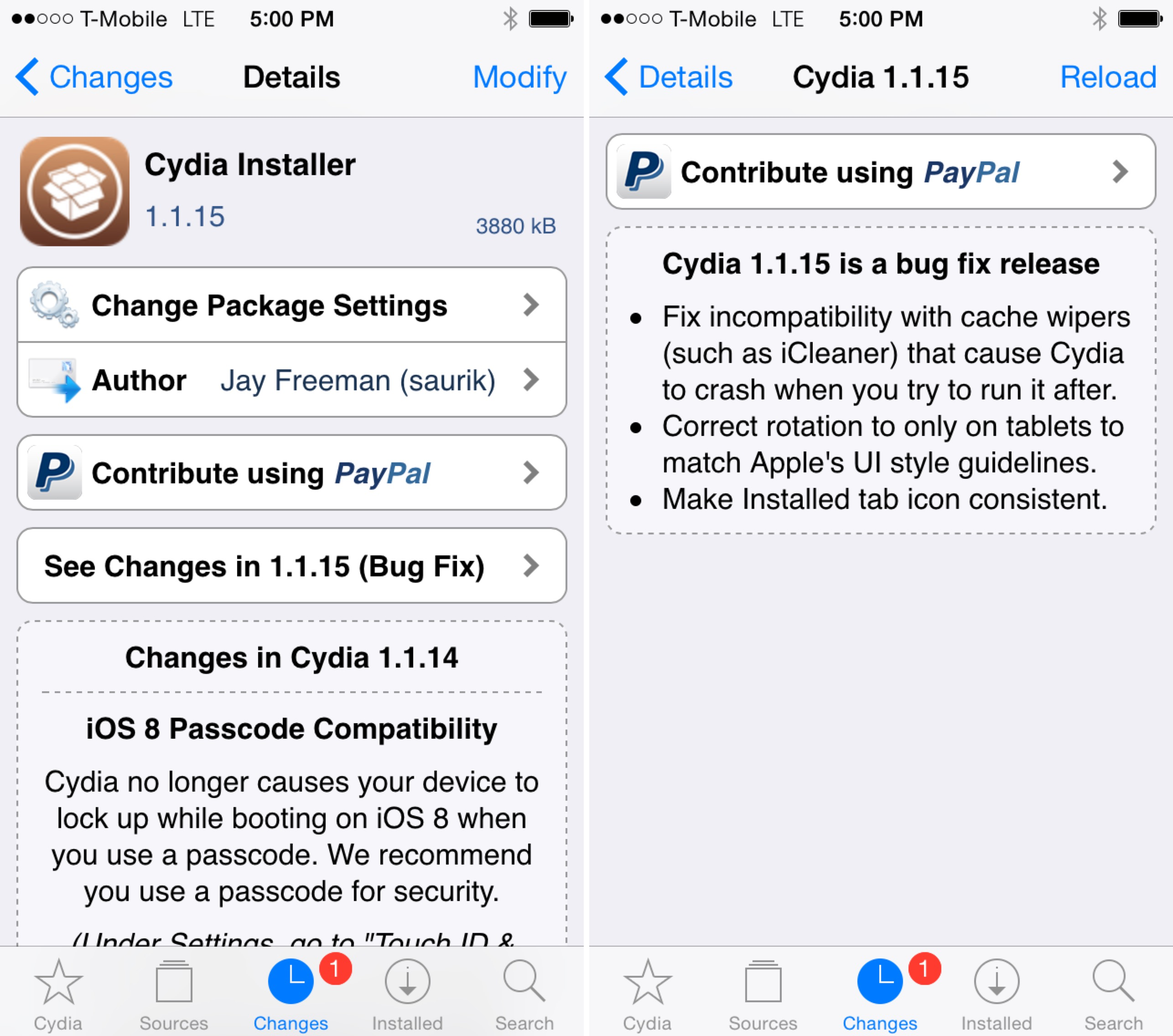 Cydia 1.1.15 bug fixes
