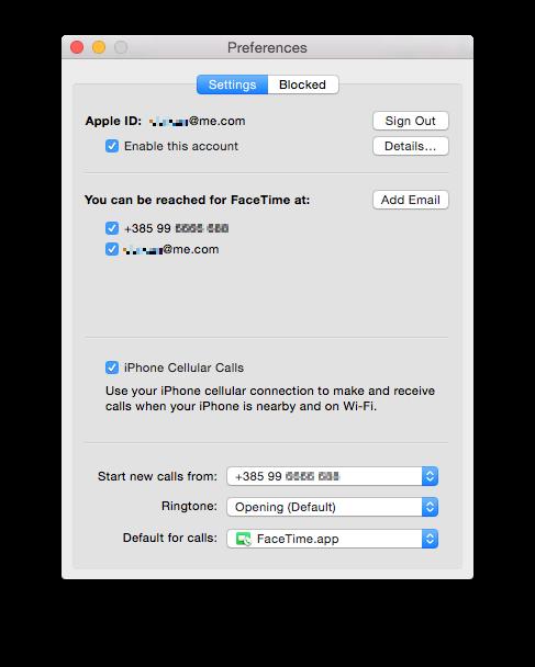 FaceTime for Yosemite (iPhone Cellular Calls settings)