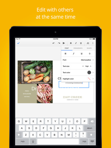 Google Slides 1.0.1 for iOS (iPad screenshot 001)