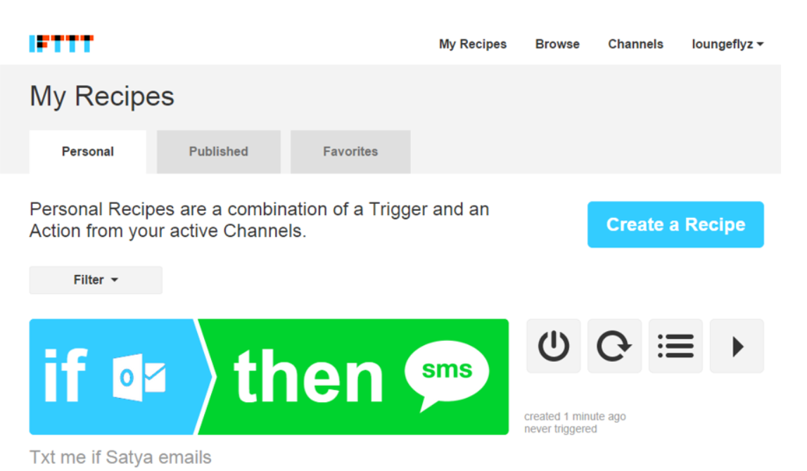 IFTTT Recipe (Text me if Satya emails)