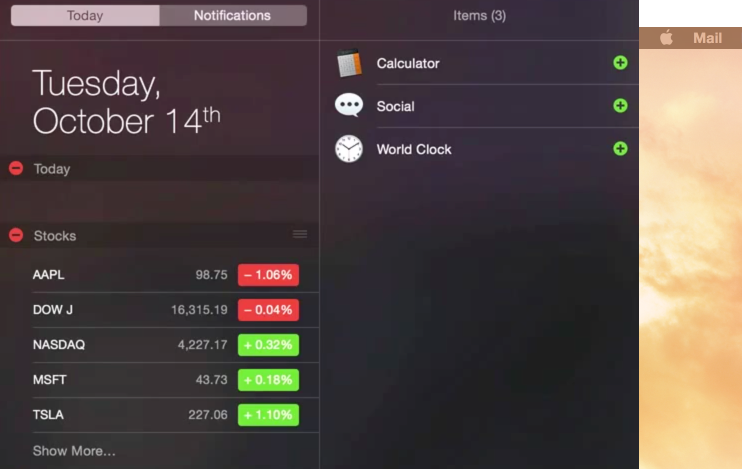 Notification Center Today View OS X Yosemite