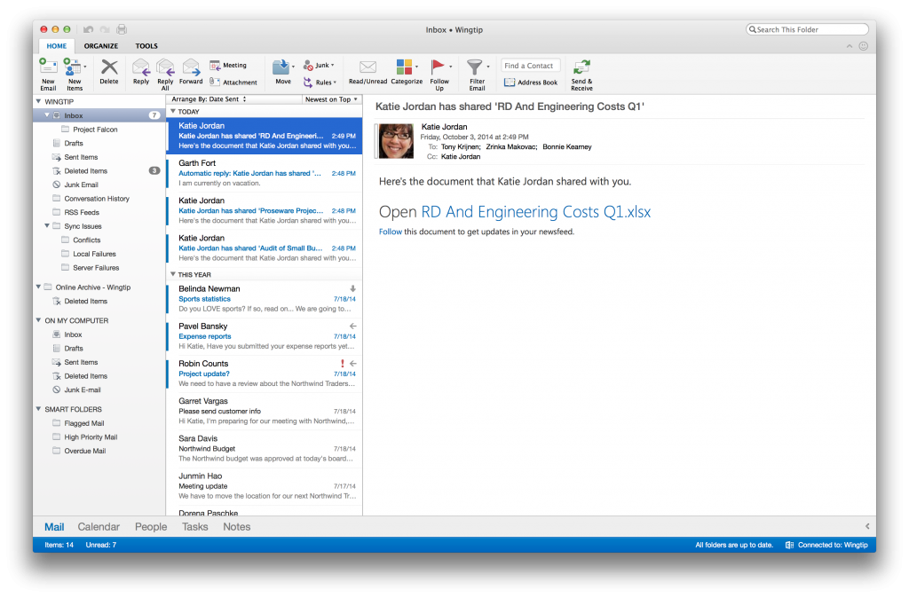 Outlook for Mac (redesgin, screenshot 001)