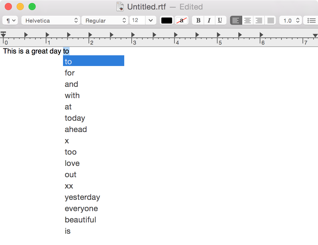 Predictive Text OS X Yosemite