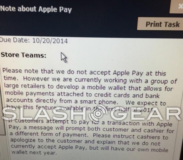 RIteAid internal memo Apple Pay