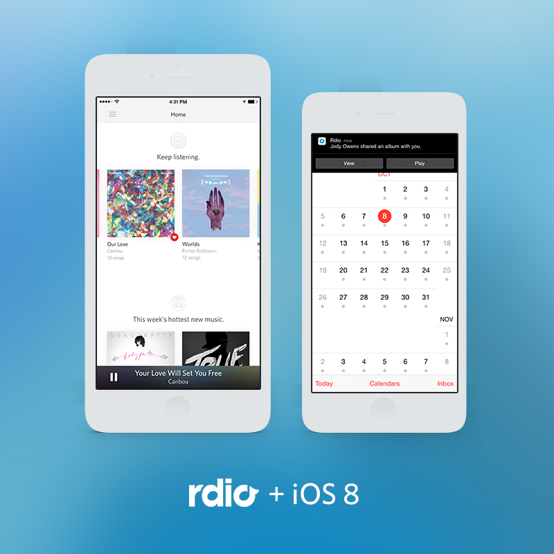 Rdio iOS 8 update