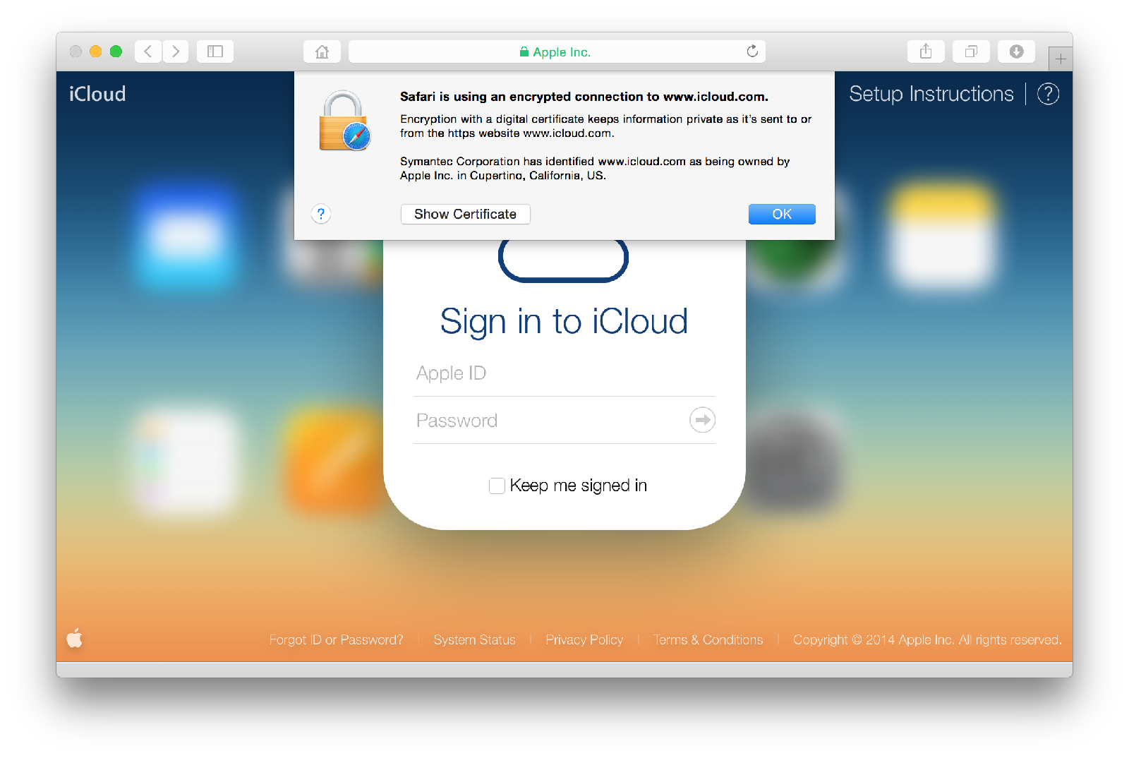 Safari (iCloud login page verified)