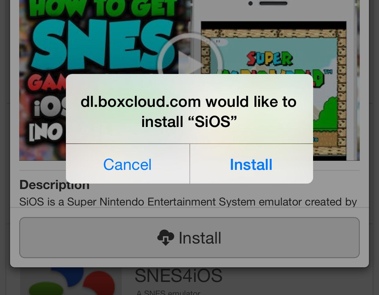 SiOS Emulator install prompt