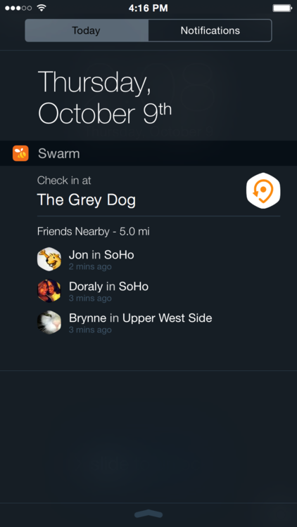 Swarm 1.3 for iOS (iPhone screenshot, iOS 8 widget)