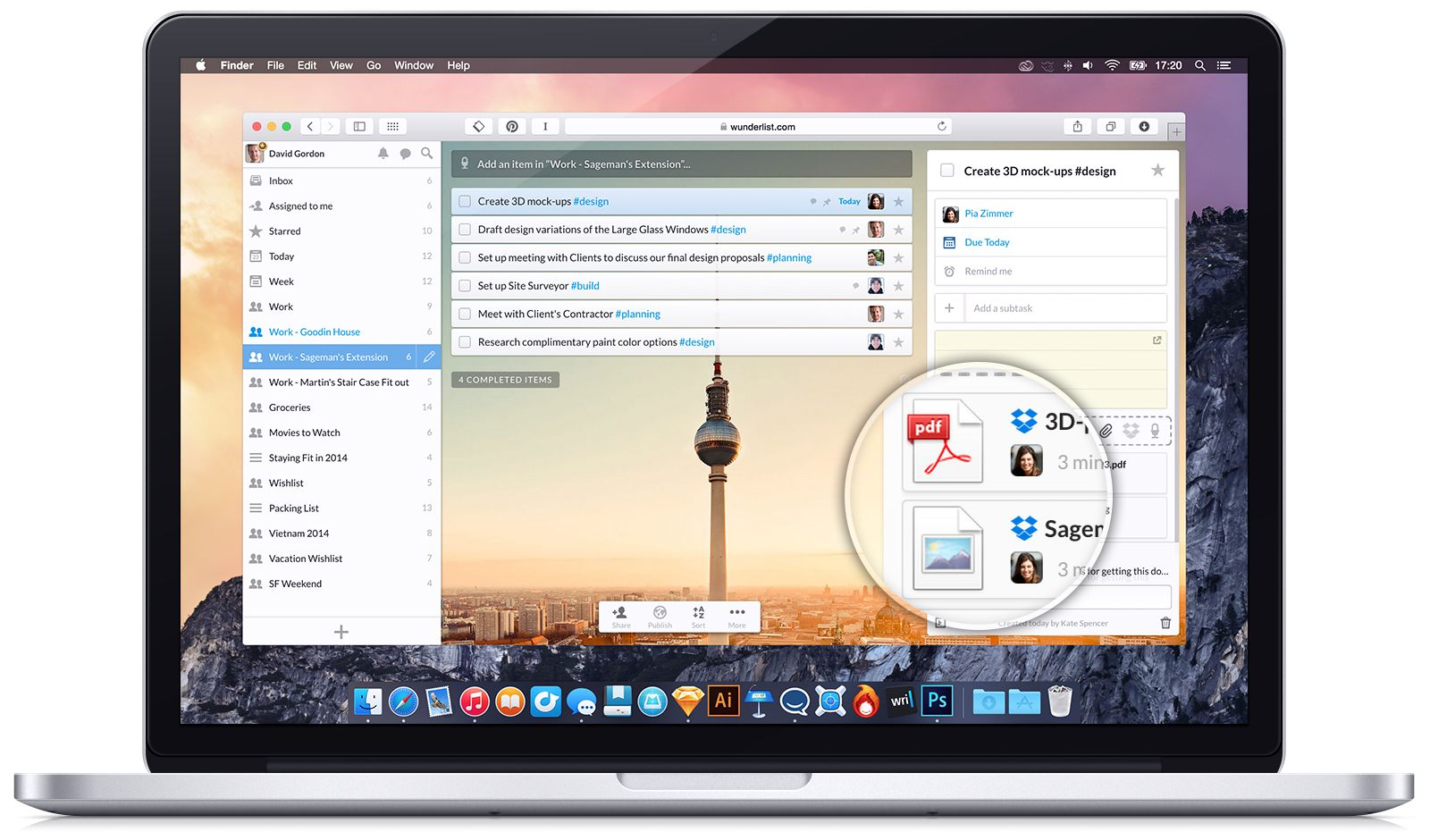 Wunderlist (Dropbox integration, Mac screenshot 001)