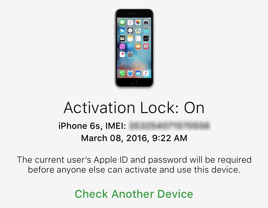 activation lock on