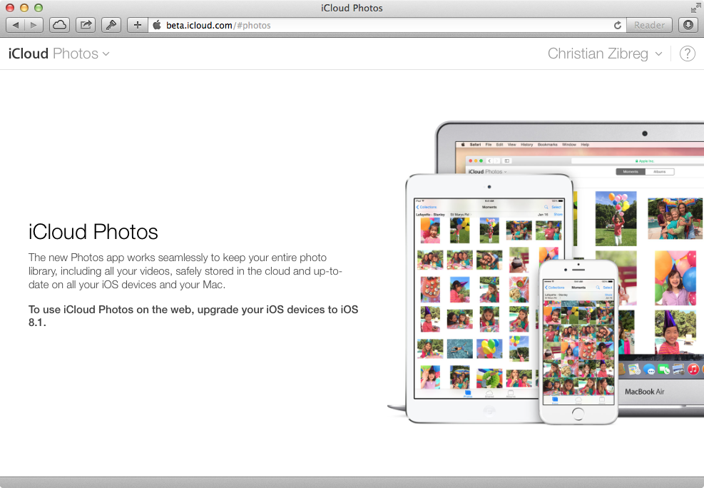 iCloud Photos (Requirements message)