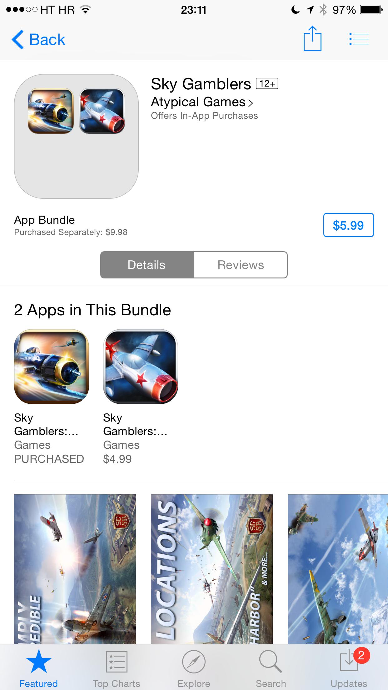 iOS 8 (App Store, Complete My Bundle, Sky Gamblers 001)