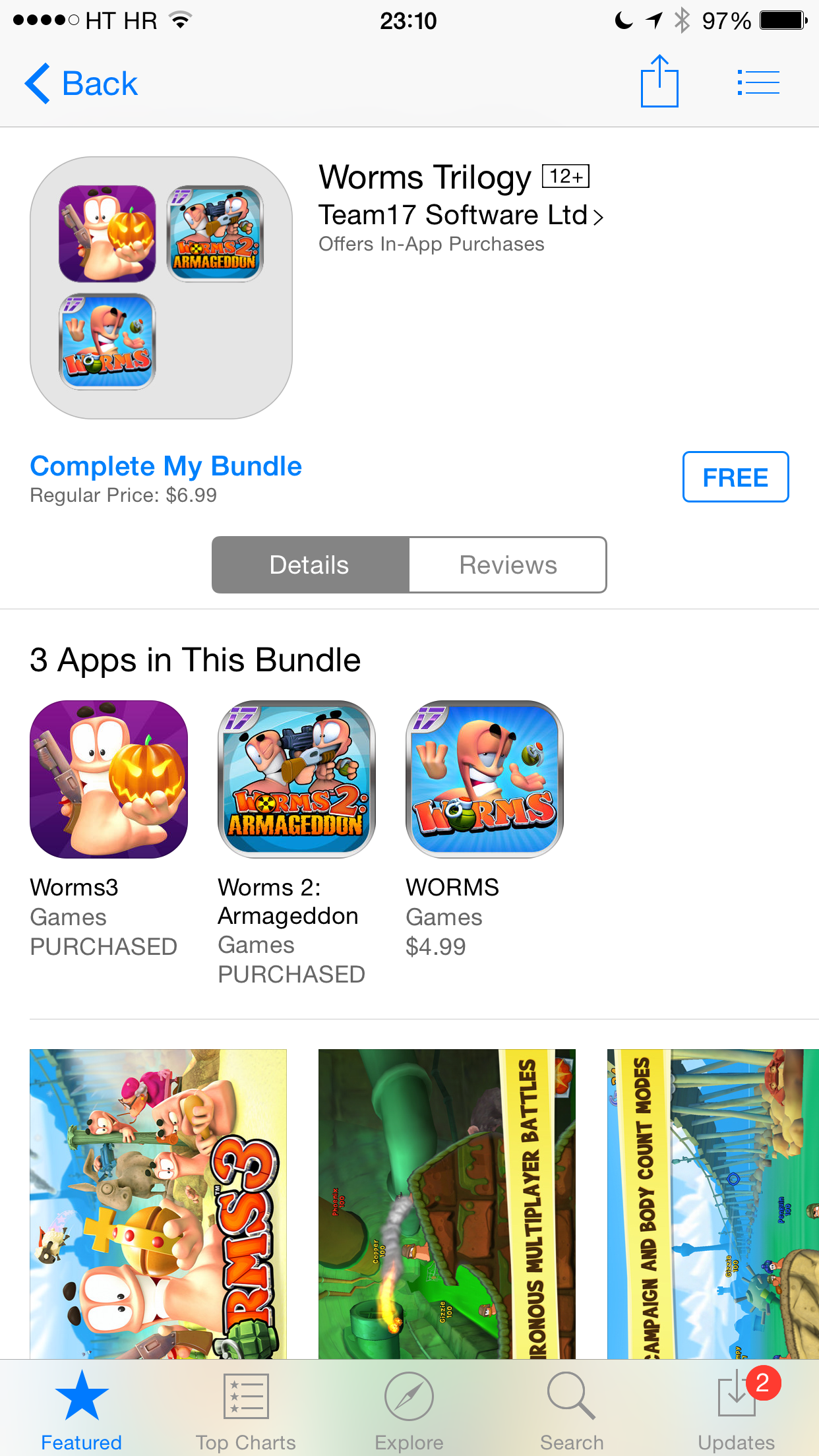 iOS 8 (App Store, Complete My Bundle, Worms 002)