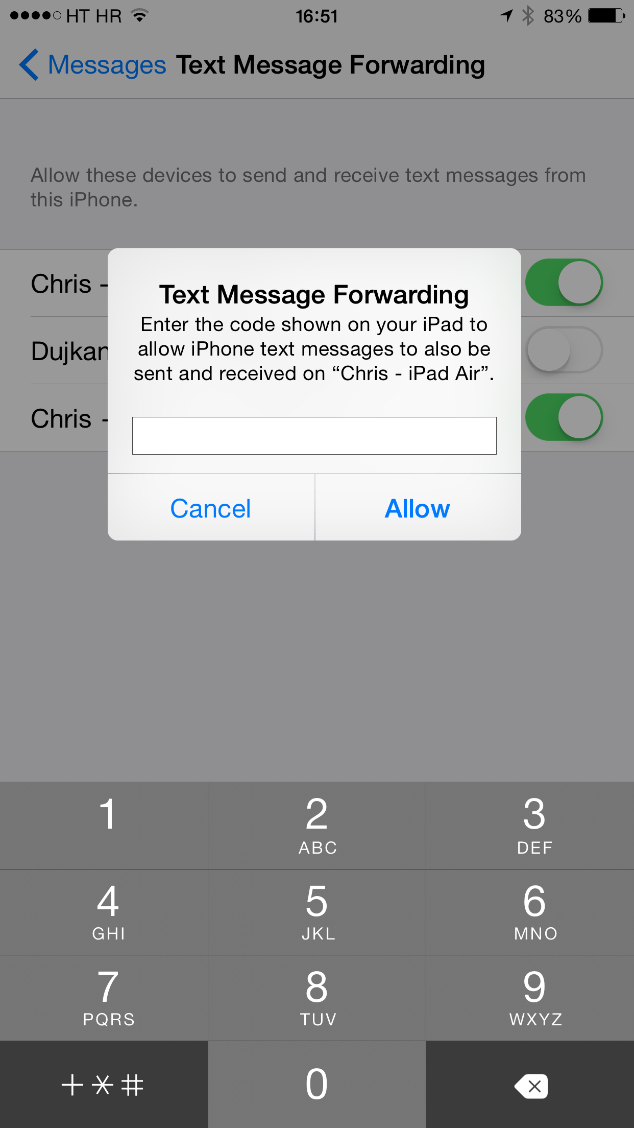 iOS 8 (Messages, Text Message Forwarding 002)