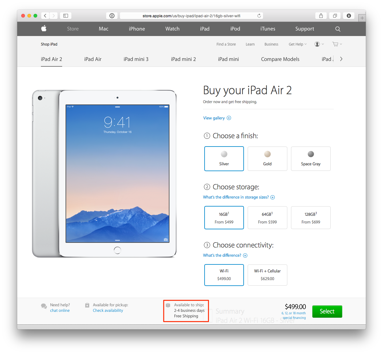 iPad Air 2 (in store pickup, web screenshot 001)