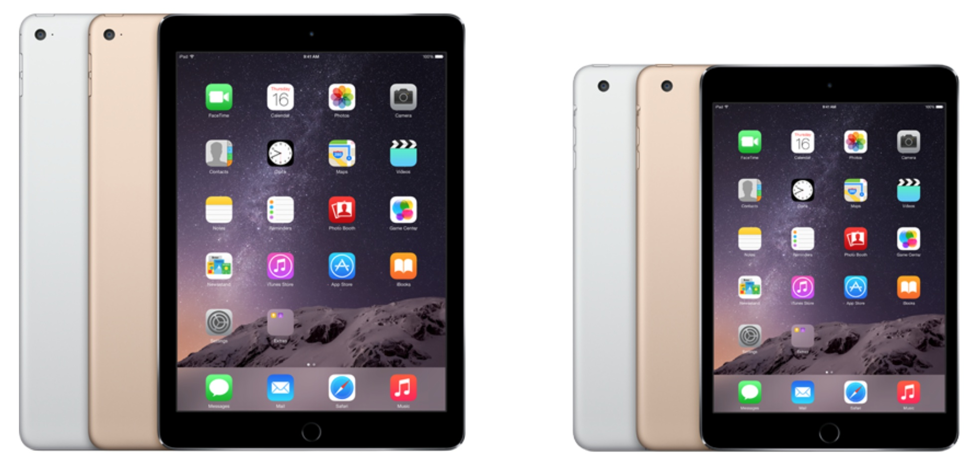 iPad Air 2 next to iPad mini 3