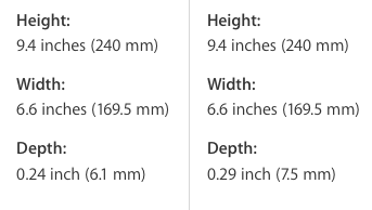 iPad Air 2 vs iPad Air dimensions