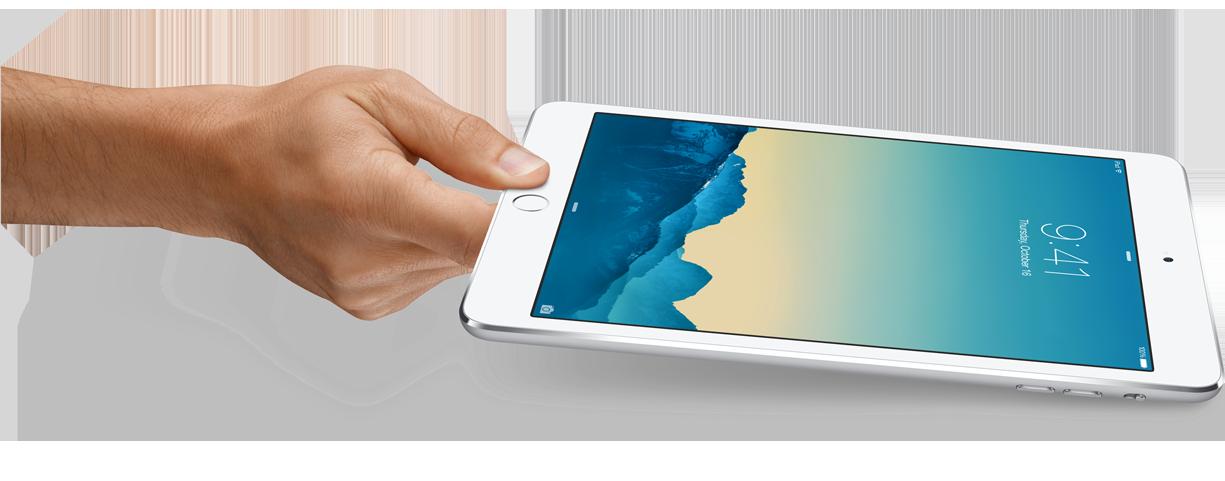 iPad mini 3 silver hand