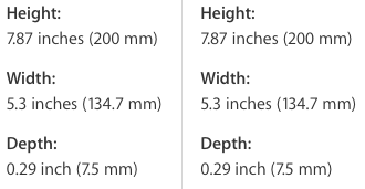 iPad mini 3 vs iPad mini 2 dimensions