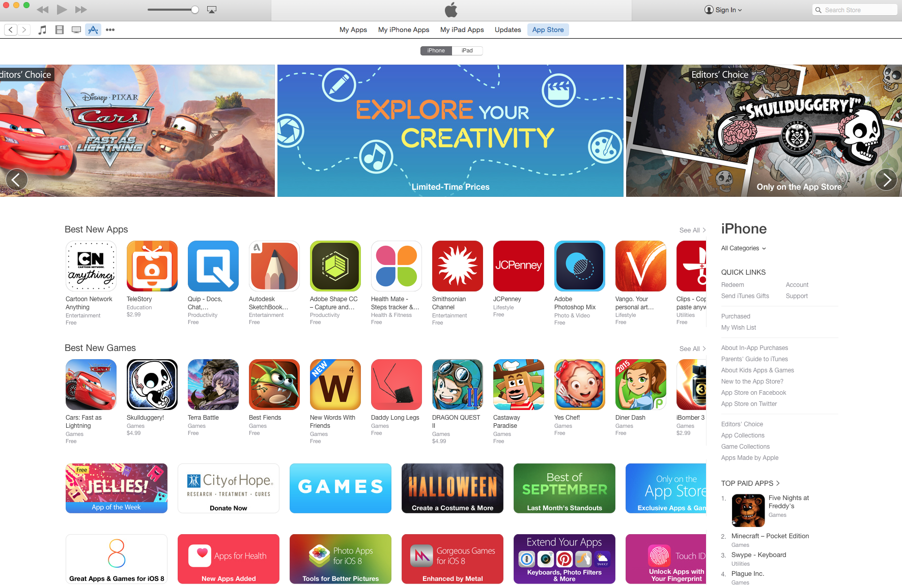 new itunes store also
