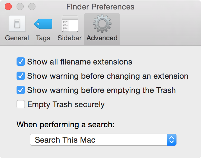 show hide filename extensions mac yosemite
