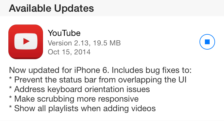 youtube app iPhone 6 update