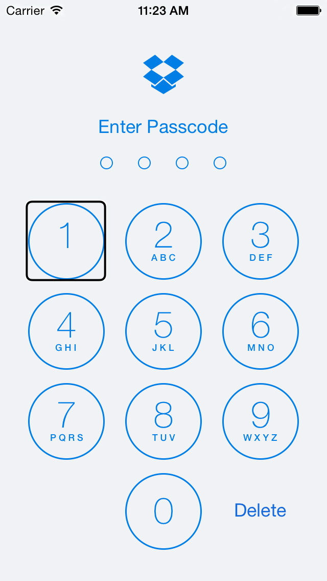 Dropbox for iOS (VoiceOver passcode)