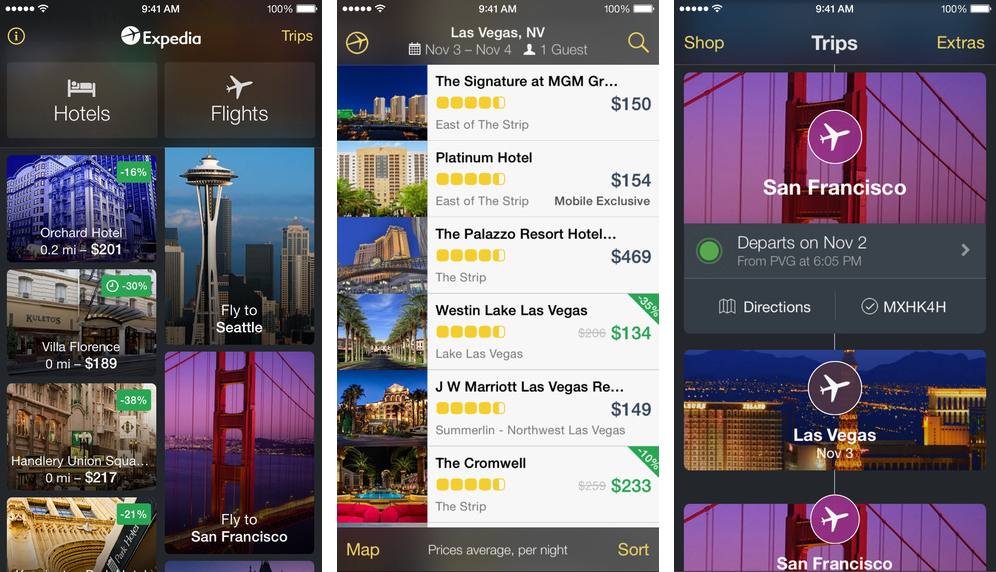 Expedia 4.1.1. for iOS (iPhone screenshot 001)