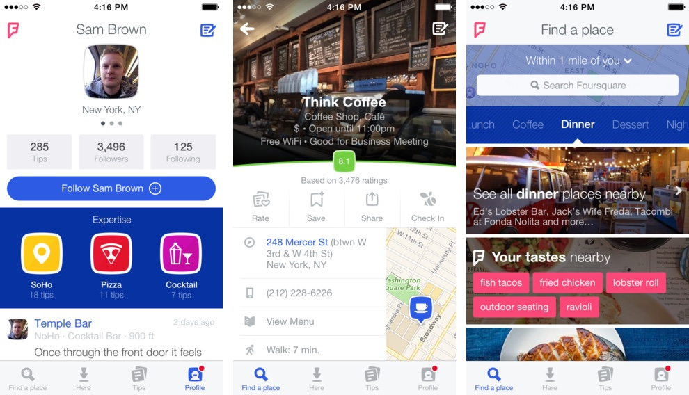Foursquare 8.2 for iOS (iPhone screenshot 001)