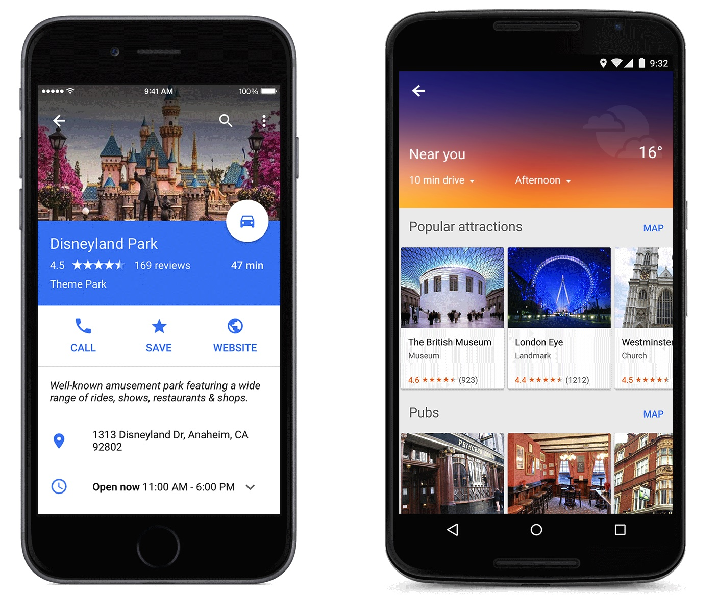 Google Maps for iOS (Info sheet and Explore, Material Design 001)