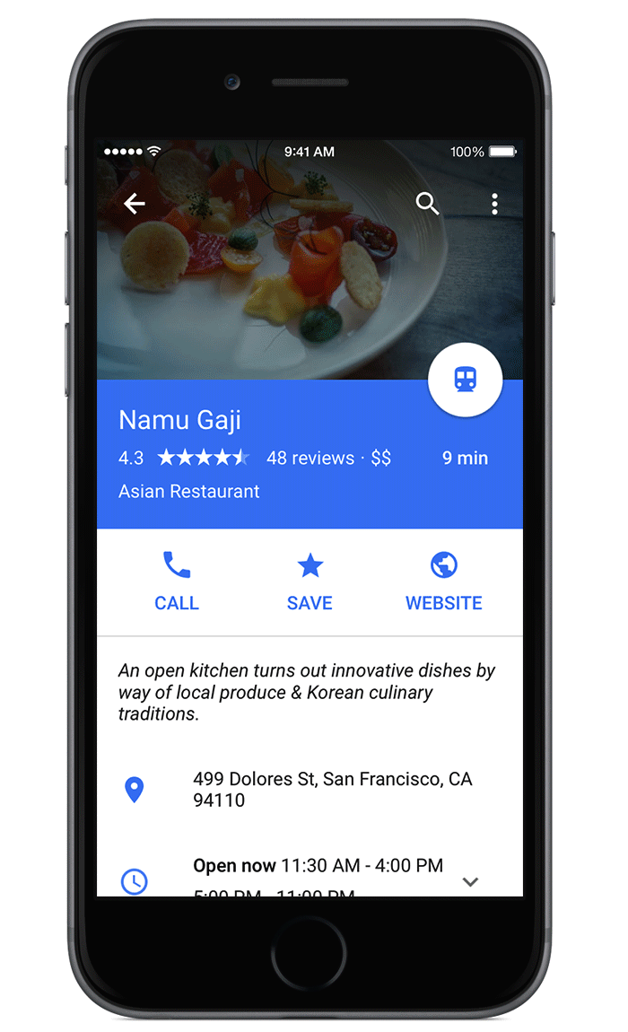 Google Maps for iOS (OpenTable reservations, Material Design 001)