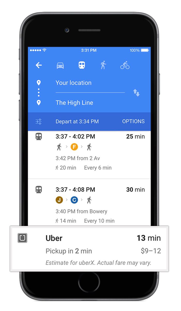 Google Maps for iOS (Uber card, Material Design 001)