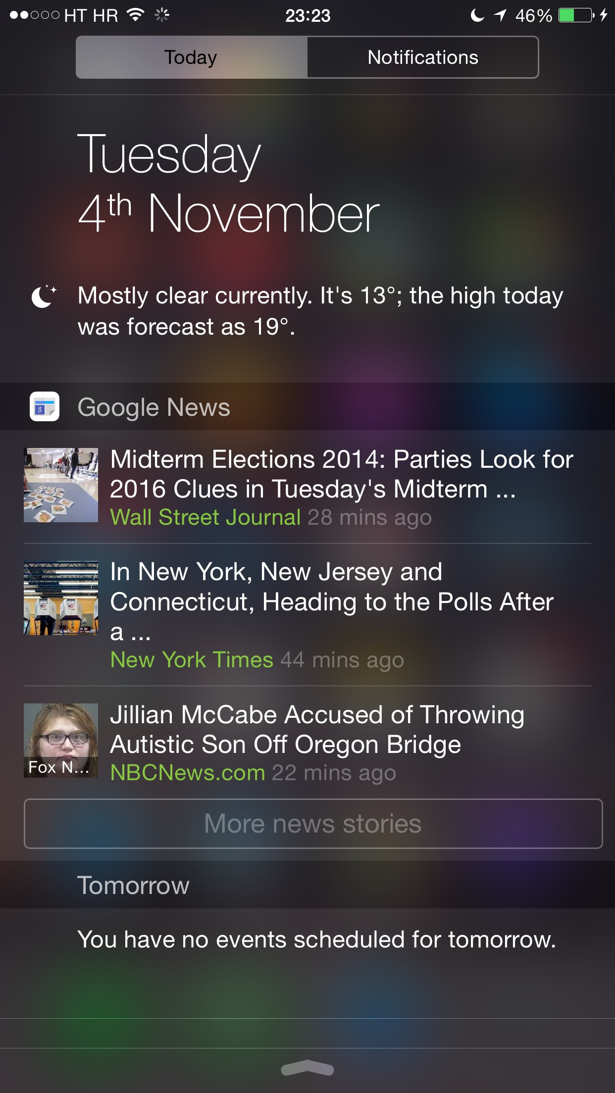 Google News and Weather 1.1.276 for iOS (iPhone screenshot, iOS 8 Today widget)