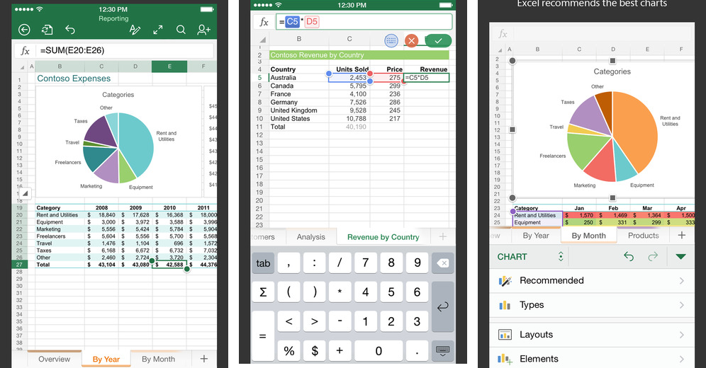 Microsoft Excel 1.2 for iOS (iPhone screenshot 001)