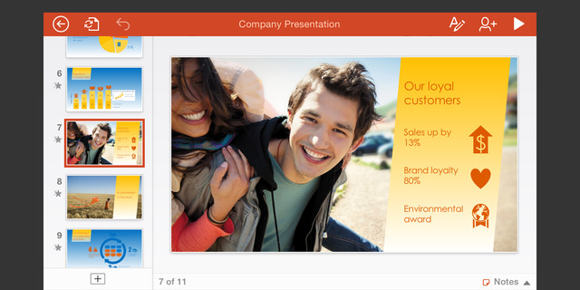 Microsoft PowerPoint 1.2 para iOS (captura de pantalla de iPhone 001)
