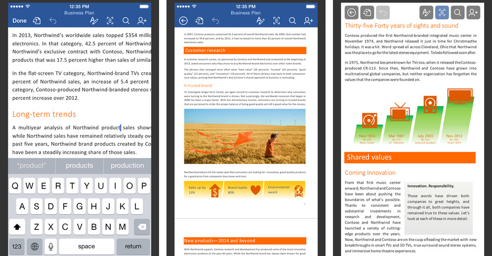 Microsoft Word 1.2 for iOS (iPhone screenshot 001)