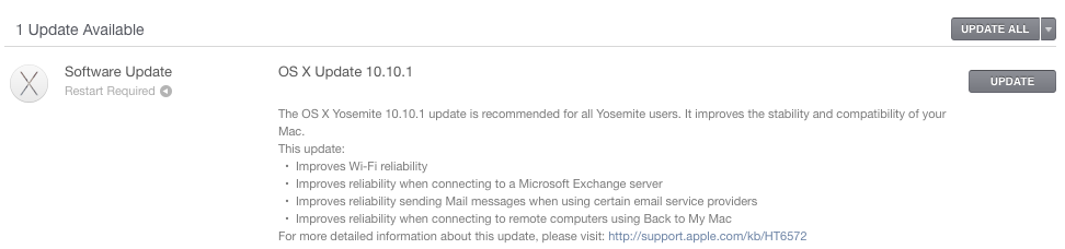 OS X Yosemite 10.10.1 update prompt
